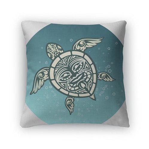 Throw Pillow, Swimming Sea Turtle With Polynesian Tribal Pattern