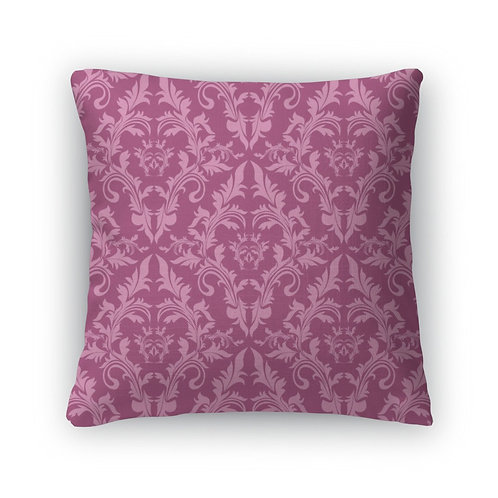 Throw Pillow, Damask Floral Pattern in Shades of Pink