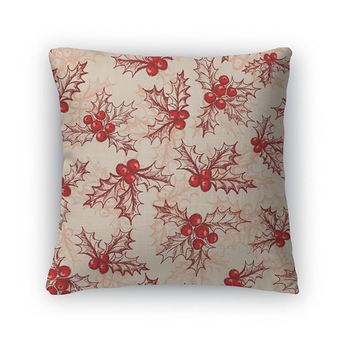 Throw Pillow, Holly Berry
