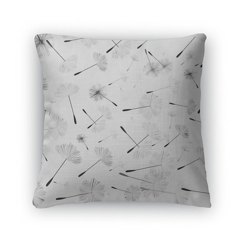 Throw Pillow, Blackwhite Dandelion Pattern