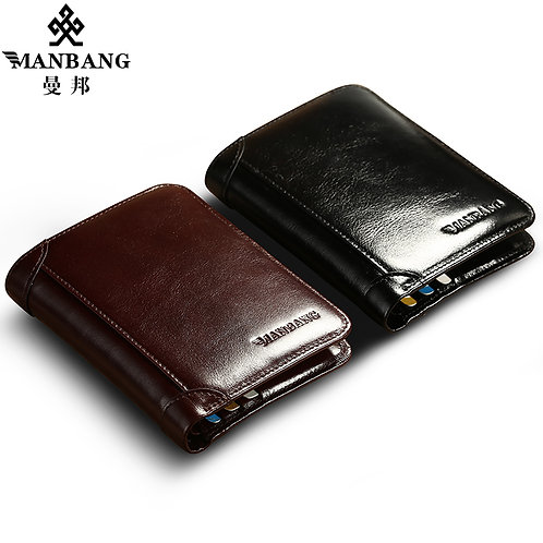 ManBang Classic Style Wallet, Genuine Leather for Men , Fashion High Quality