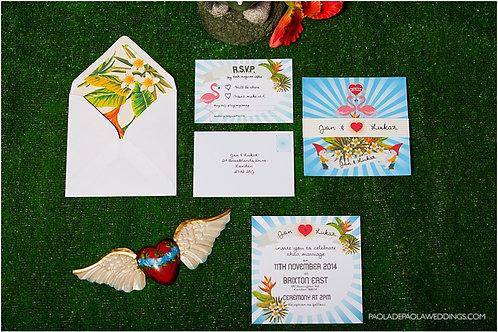 Bright kitsch alternative wedding invite