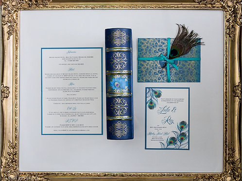 Peacock wedding invitation, Wallet & RSVP