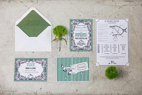 Vintage stripe wedding invitation & RSVP