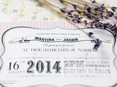 Candy stripe vintage wedding invite & RSVP