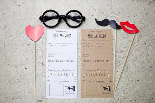 Bride & Groom fun advice cards for guest book (12)