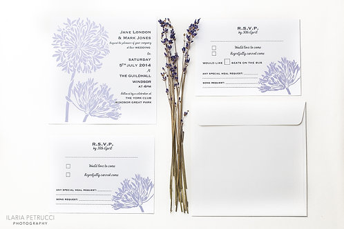Agapanthus wedding invite & RSVP