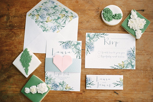 Succulent wedding invite & RSVP
