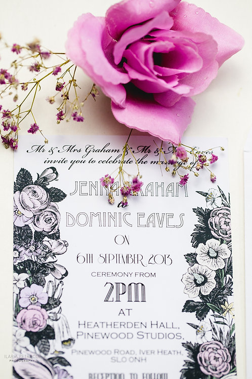 Vintage floral wedding invite & RSVP