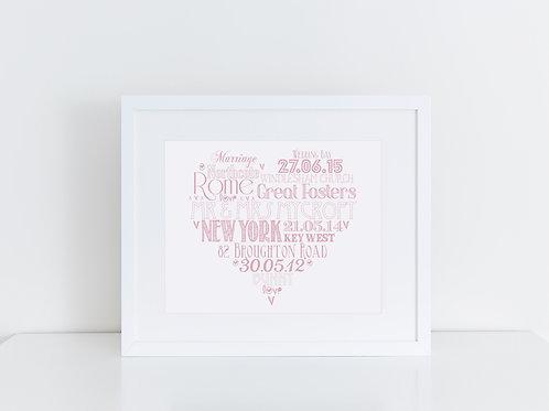 Personalised Heart Word Art Print