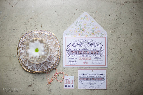 Vintage tea party wedding invite & RSVP
