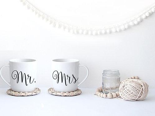 Mr & Mrs Porcelain Calligraphy Mugs