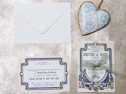 Ornate Vintage Wedding Invite & RSVP