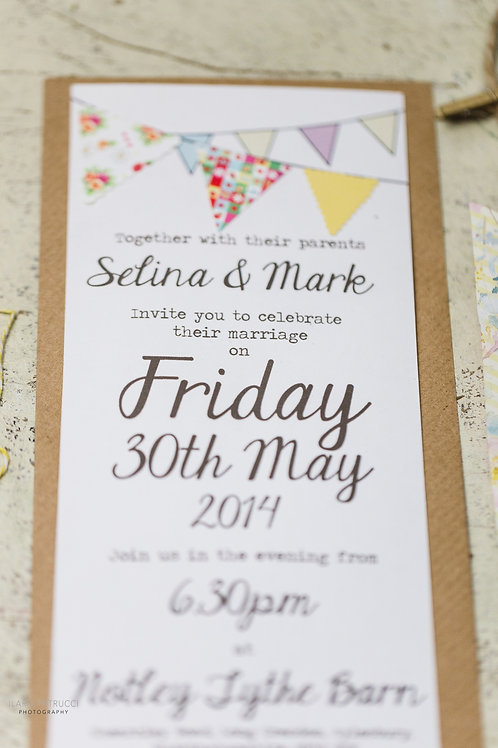 Country fete bunting wedding invite & RSVP