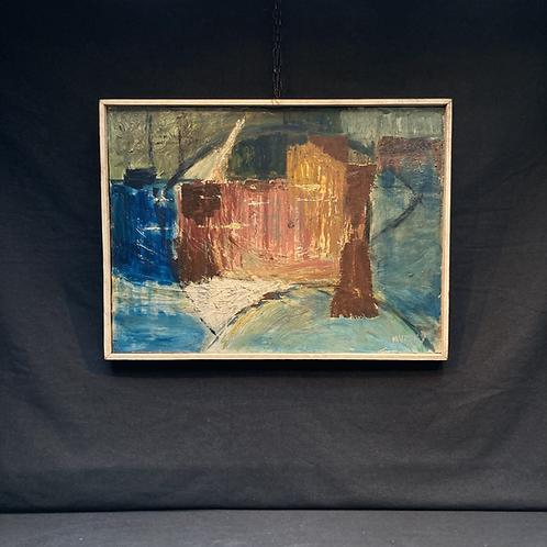 1950s signed British abstract landscape. Oil on board.