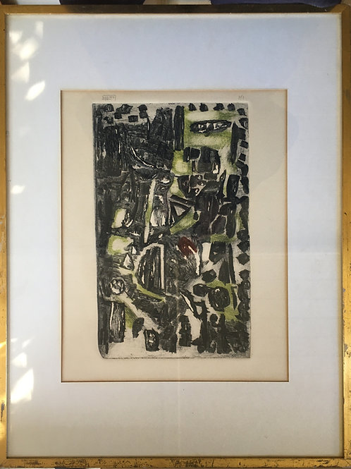 Mid Century abstract French etching
