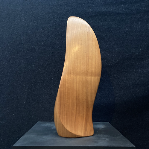 Mid century, signed abstract wood carving.