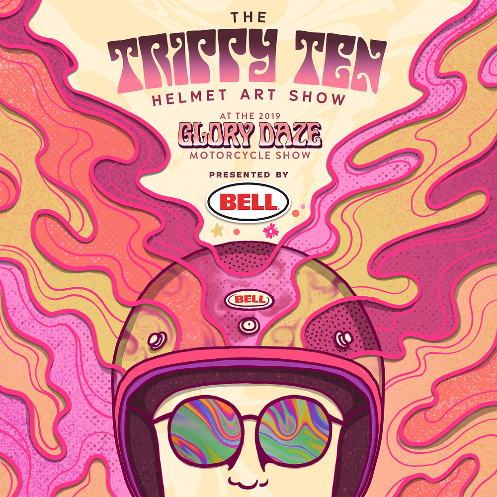 Glory Daze Trippy Ten Helmet Art Show