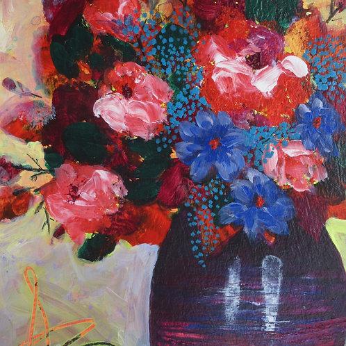 Red Mix in a Dark Vase