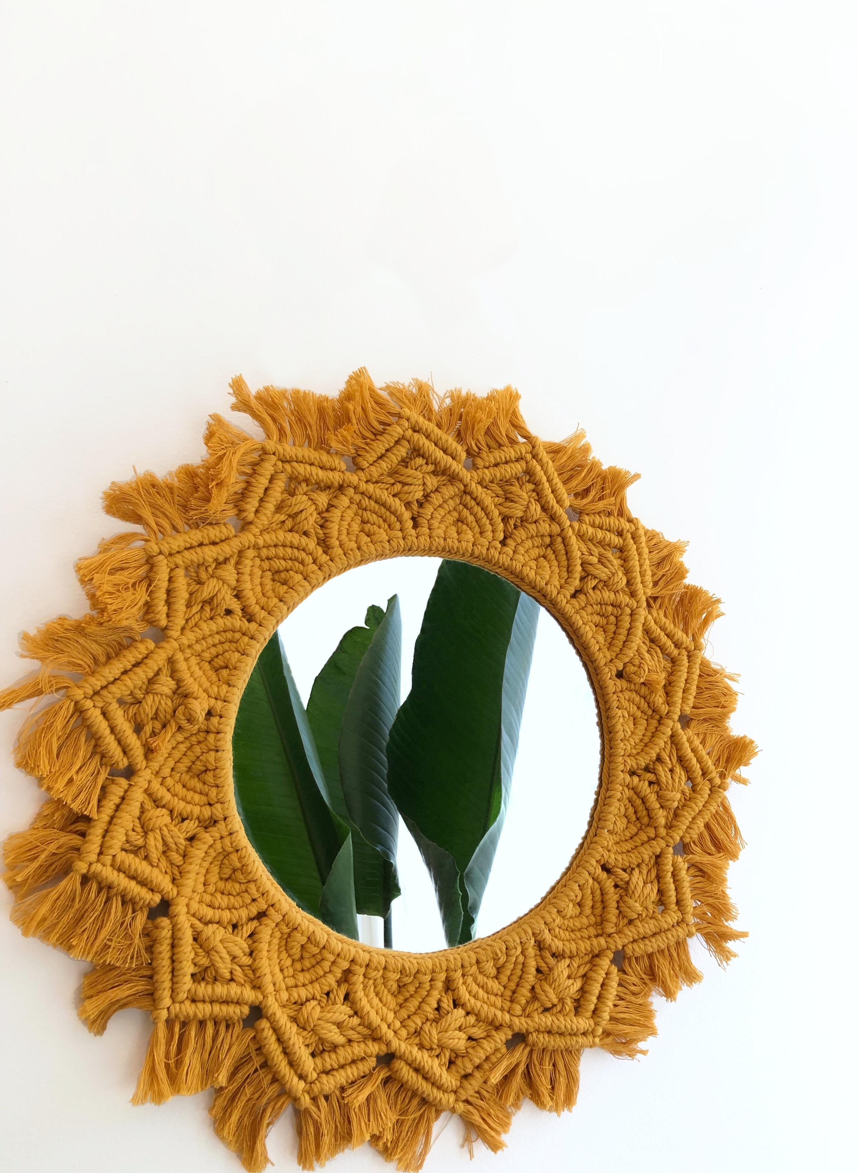 Golden Macrame Mandala Mirror