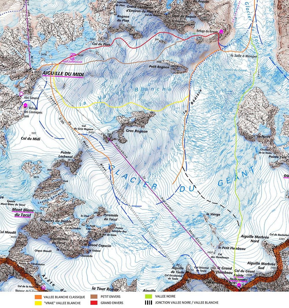 Itinéraires vallée blanche