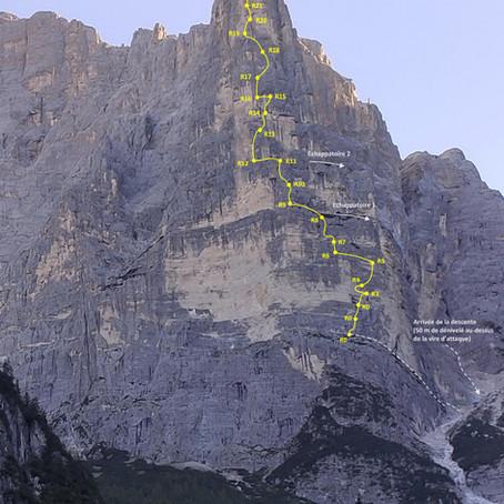 Topo Torre Trieste - Voie Carlesso Sandri (sortie Hasse)