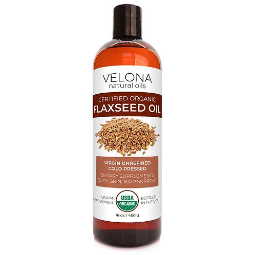 Velona USDA Certified Organic Flaxseed Oil 2 oz - 7 lb Unrefined, Cold Pressed