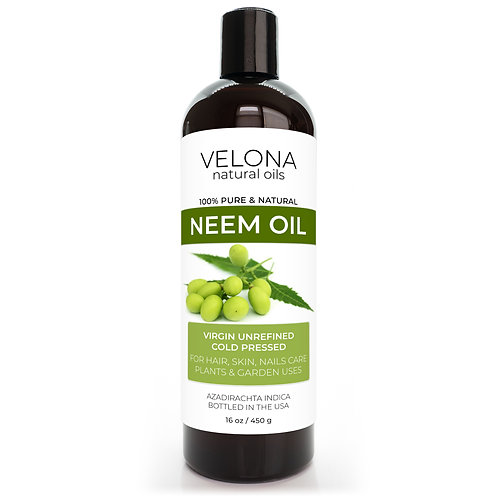 Neem Oil by Velona Virgin, Unrefined, Cold Pressed Face Hair Body Face