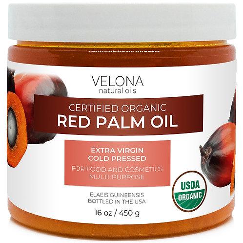 Velona USDA Certified Organic Red Palm Oil  2oz-7lb Cold Pressed Virgin Unref