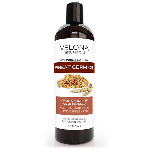 Wheat Germ Oil USP Grade by Velona Unrefined, Cold Pressed, Cooking Hair Body