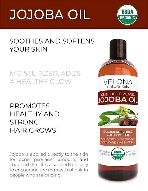 Velona Jojoba Oil USDA Certified Organic 2oz-7 lb Golden Unrefined Cold Pressed