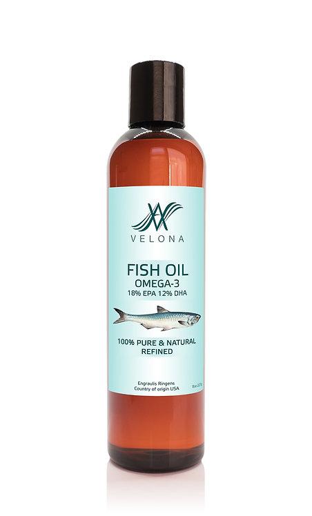 Fish Omega-3 Oil by Velona Pure Refined Cold pressed Vitamin E, D