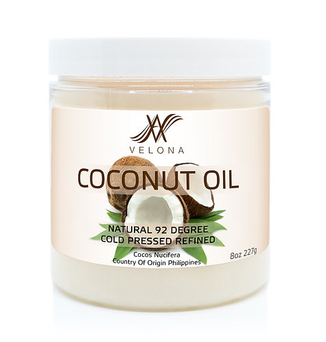 Coconut Oil 92 Degree by Velona in jar Refined Cold pressed Skin Body