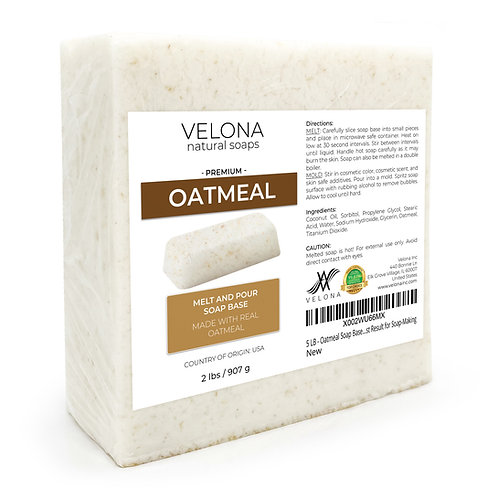 Oatmeal Soap Base by Velona   SLS/SLES free   Melt and Pour   Natural Bars