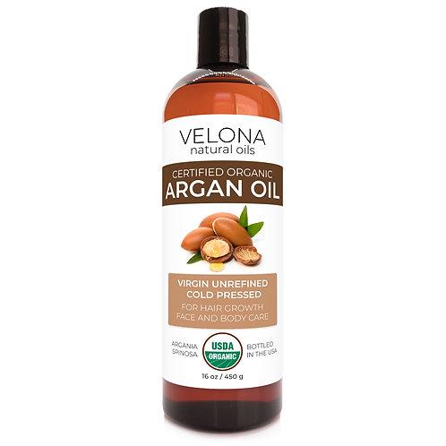 Velona USDA Certified Organic Argan Oil 2oz -7lb Moroccan Unrefined Cold Pressed