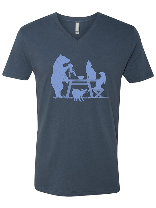 MEN'S V-NECK-Picnic Table Indigo/Blue