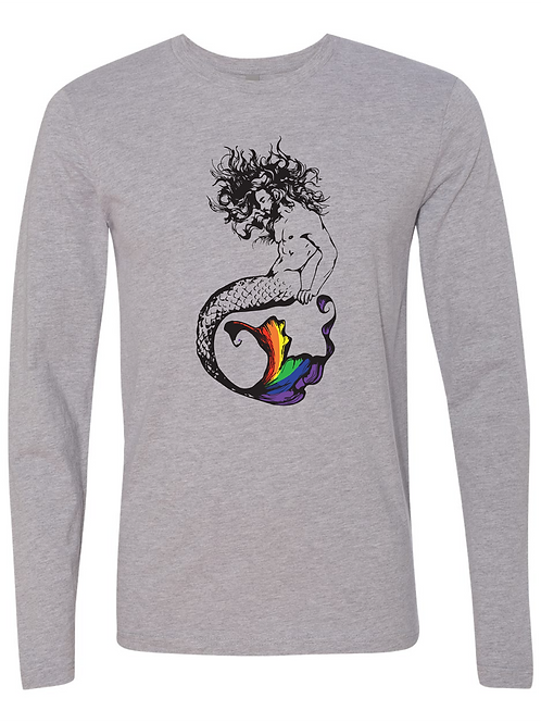 UNISEX LONG SLEEVE TEE-Merman Rainbow