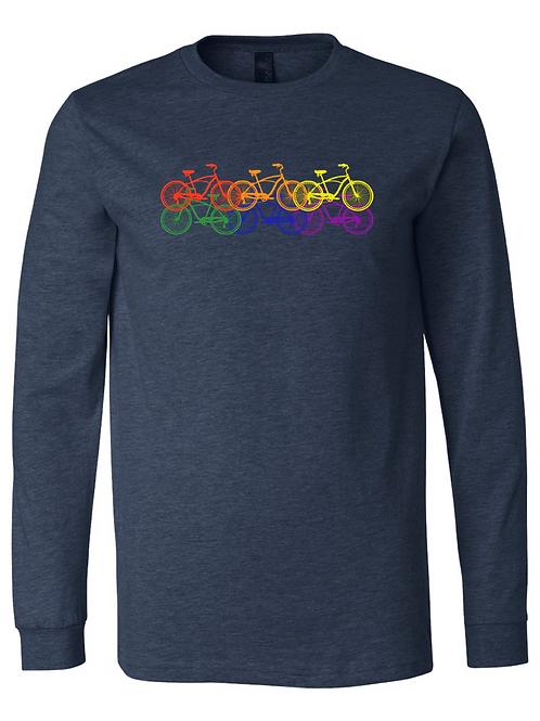UNISEX LONG SLEEVE-6 Rainbow Bikes