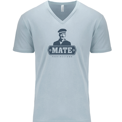 MEN'S V-NECK-MATE Logo Light Blue