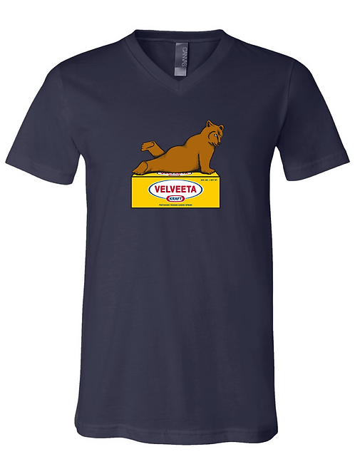 UNISEX V-NECK-Velveeta Bear Navy