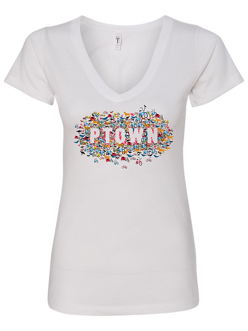 WOMEN'S V-NECK-Collage' White