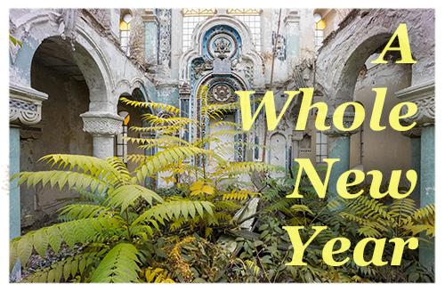 Shrine, temple, bricks, tree roots, overgrown plants, fallen leaves