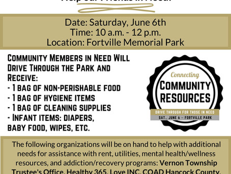 Connecting Community Resources Event Saturday, June 6th 10 am - 12 pm, Fortville Memorial Park