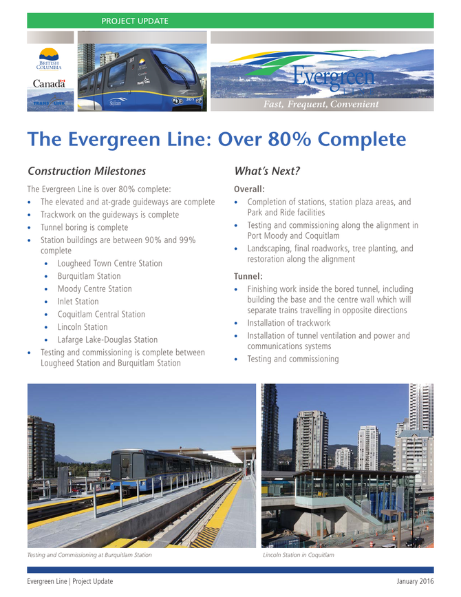 The Evergreen Line: Over 80% Complete