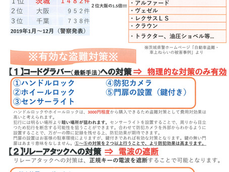 (2020/11/02)茨城県内の車両盗難事情!