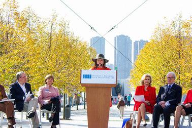 Opening Four Freedoms Park , with  Borough President Scott Stringer and Congresswomen Carolyn Maloney
