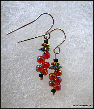 Glass Fringe Bead Earrings #1