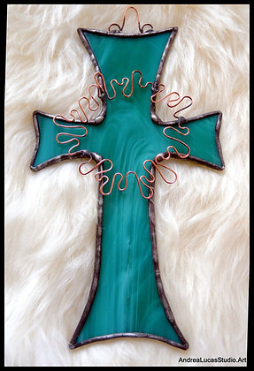 Aqua Stained Glass Cross