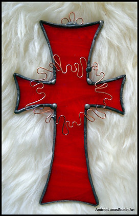 Red Stained Glass Cross