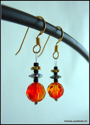 #1 Tangerine Swarovski Earrings